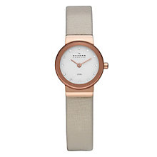 Skagen Ladies' White Dial Rose Gold Plated Nude Strap Watch - Product number 9737650