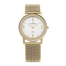 Skagen Ladies' White Dial Gold Plated Stretch Bracelet Watch - Product number 9737677
