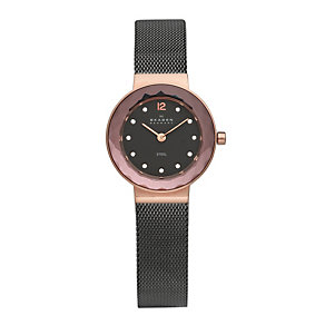 Skagen Ladies' Black Dial Rose Gold Plated Bracelet Watch - Product number 9737685