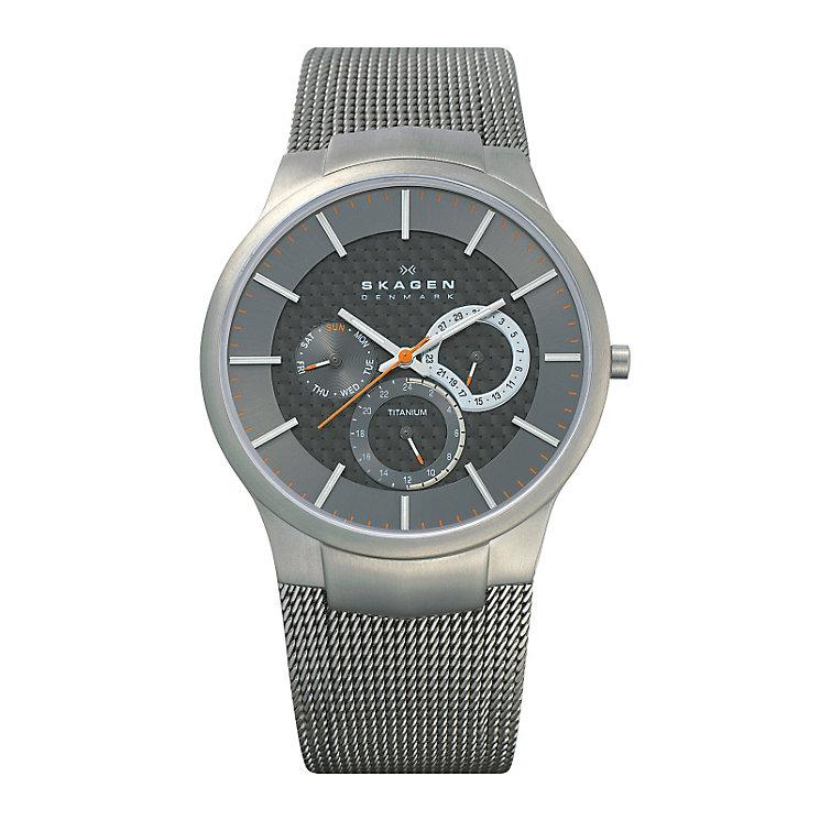 Skagen Men's Grey Dial Titanium Mesh Bracelet Watch - Product number 9737715
