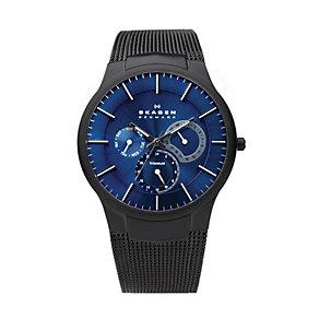 Skagen Men's Blue Dial Black Titanium Mesh Bracelet Watch - Product number 9737731