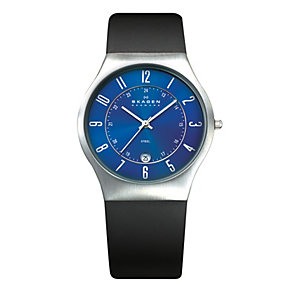 Skagen Men's Blue Dial Black Leather Strap Watch - Product number 9737766