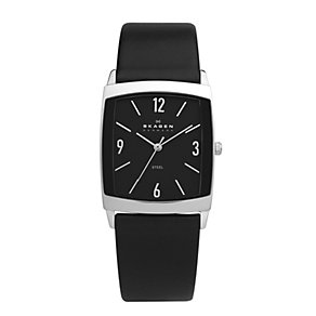 Skagen Men's Square Black Dial Leather Strap Watch - Product number 9737847