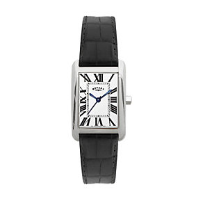 Rotary Men's Rectangular Dial Black Leather Strap Watch - Product number 9738029