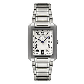 Rotary Men's Rectangular Dial Stainless Steel Bracelet Watch - Product number 9738037