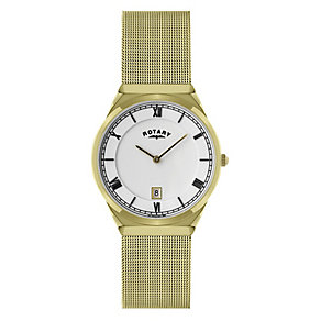 Rotary Men's White Dial Gold Plated Mesh Bracelet Watch - Product number 9738045