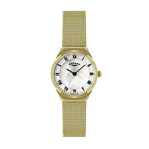 Rotary Ladies' Mother of Pearl Gold Plated Mesh Strap Watch - Product number 9738150