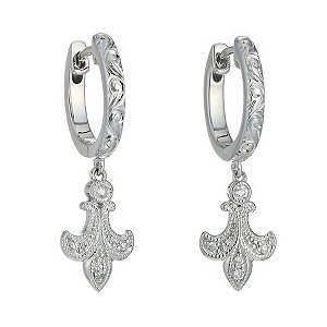 Neil Lane Fleur De Lys silver diamond earrings - Product number 9738282