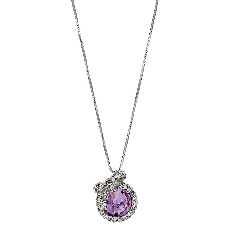 Pink Solitaire & Stone Set Bow Pendant Necklace - Product number 9740902