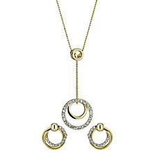 Stone Set Gold Plated Circle Drop Necklace and Earring Set - Product number 9741550