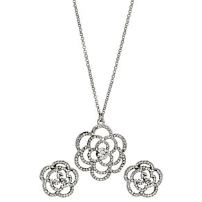 Stone Set Flower Necklace & Stud Earrings Two Piece Set - Product number 9741585