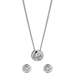 Solitaire Necklace & Stud Earrings Two Piece Set - Product number 9741593