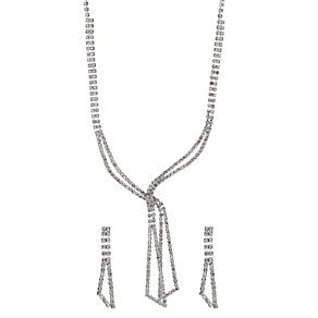 Crystal Tie Necklace & Earrings Two Piece Set - Product number 9741607