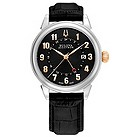 Bulova Accutron Gemini GMT black leather strap watch - Product number 9742492