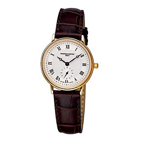 Frederique Constant ladies' gold-plated white strap watch - Product number 9743170