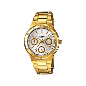 Casio Sheen Ladies' Stone Set Gold Plated Bracelet Watch - Product number 9743561