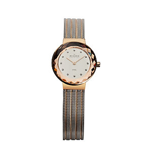 Skagen Ladies' Two Colour Gold Plated Mesh Bracelet Watch - Product number 9744282