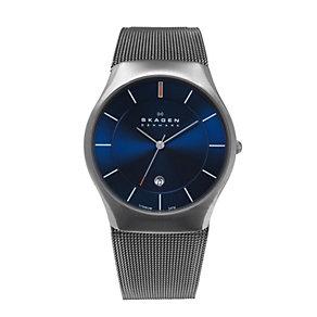 Skagen Men's Blue Dial Titanium Mesh Bracelet Watch - Product number 9744312