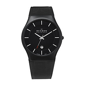 Skagen Men's Black Dial Titanium Mesh Bracelet Watch - Product number 9744320