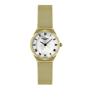 Rotary ladies' gold plated mesh bracelet watch - Product number 9744746