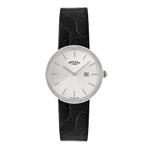 Rotary men's black leather strap watch