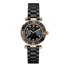 Gc ladies' rose gold-plated black ceramic bracelet watch - Product number 9746943