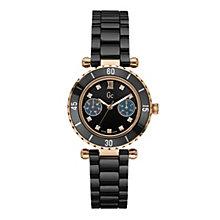 Gc ladies' rose gold-plated black ceramic bracelet watch - Product number 9746943