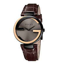 Gucci Interlocking ladies' rose gold brown strap watch - Product number 9747478