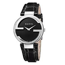 Gucci Interlocking ladies' black diamond strap watch - Product number 9747486