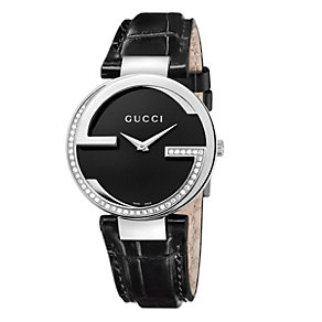 Gucci Interlocking ladies' black diamond strap watch - Product number 9747486