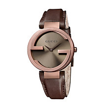 Gucci Interlocking G ladies' brown strap watch large - Product number 9747508