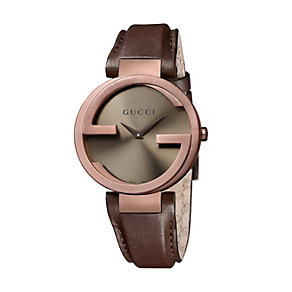 Gucci Interlocking ladies' brown strap watch large - Product number 9747508
