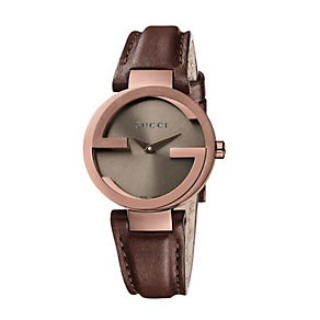 Gucci Interlocking ladies' brown strap watch small - Product number 9747540