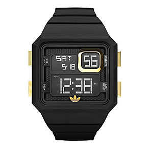 Adidas Curitiba Men's Black & Gold Silicone Watch - Product number 9748989