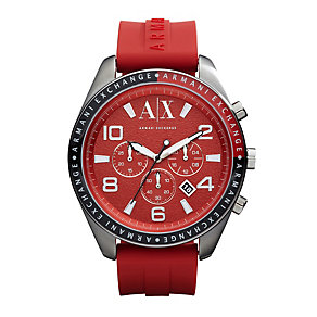 Armani Exchange Men's Red Silicone Strap Watch - Product number 9749276
