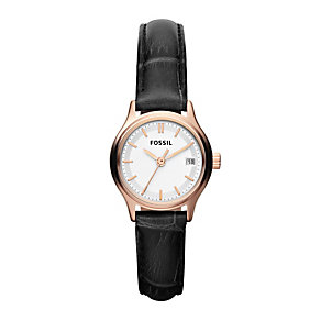 Fossil Men's Rose Gold Black Strap Watch - Product number 9749322