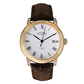 Rotary men's rose gold-plated brown leather strap watch - Product number 9752374