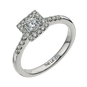 Leo Diamond18ct white gold 0.50ct I-I1 square halo ring - Product number 9755713
