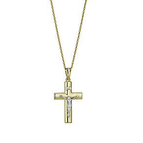 "Together Bonded Silver & 9ct Gold Crucifix 18"" - Product number 9757325"