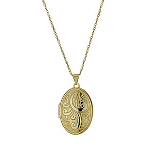 "Together Bonded Silver & 9ct Gold 18"" Oval Locket - Product number 9757368"