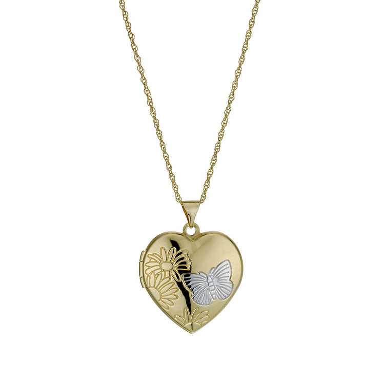 Together Bonded Silver & 9ct Gold Diamond Cut Heart Locket - Product number 9757392
