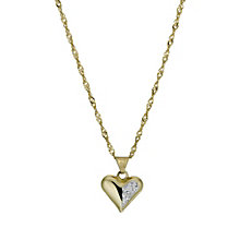 "Together Bonded Silver & 9ct Gold 18"" Crystal Heart Pendant - Product number 9757406"