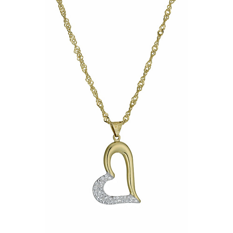 Together Bonded Silver & 9ct Gold Crystal Heart Pendant - Product number 9757414