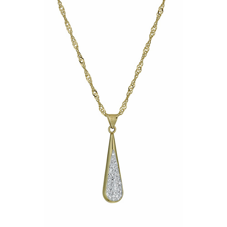 "Together Bonded Silver & 9ct Gold 18"" Crystal Drop Pendant - Product number 9757449"