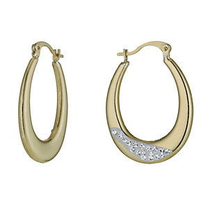 Together Bonded Silver & 9ct Gold Crystal Creole Earrings - Product number 9760172