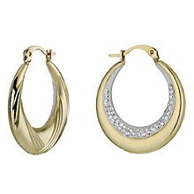 Together Bonded Silver & 9ct Gold Crystal Creole Earrings - Product number 9760180
