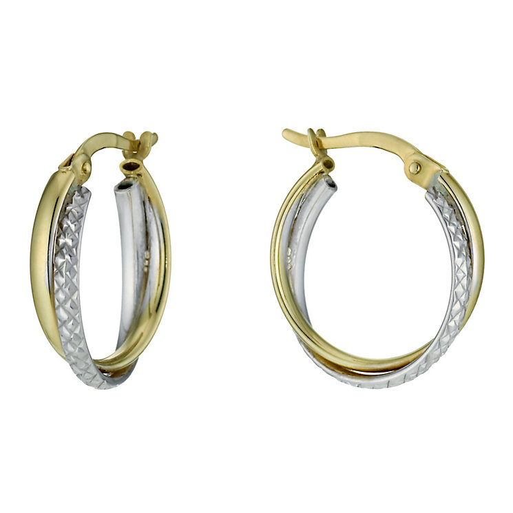 Together Bonded Diamond Cut Double Creole Earrings - Product number 9760199