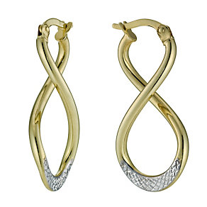 Together Bonded Diamond Cut Figure Of Eight Creole Earrings - Product number 9760202