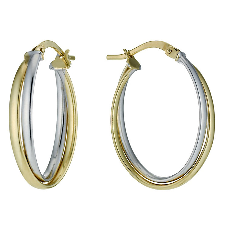 Together Bonded Silver & 9ct Gold Double Creole Earrings - Product number 9760210