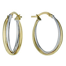 Together Silver & 9ct Bonded Gold Double Creole Earrings - Product number 9760210